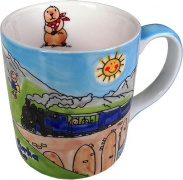 Tasse mit Dampfbahnbildern
